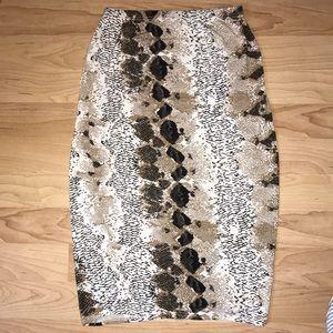 Boohoo Snake Skin Bodycon Skirt
